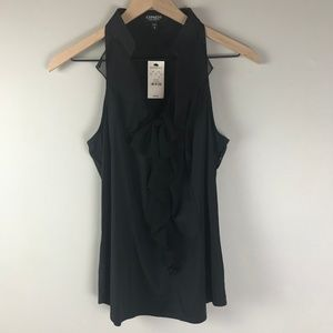 Express Black Ruffle sleeveless blouse womens M